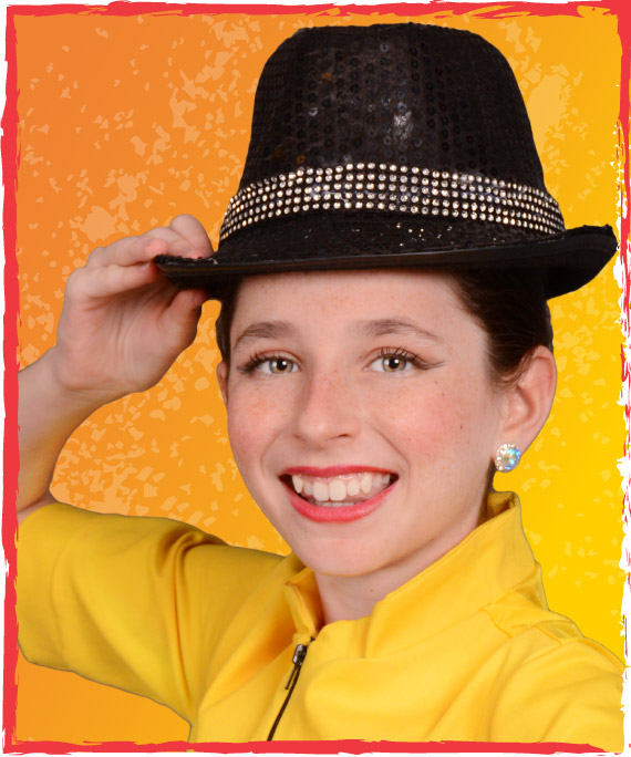 elite feet dance company member in black hat and yellow costume