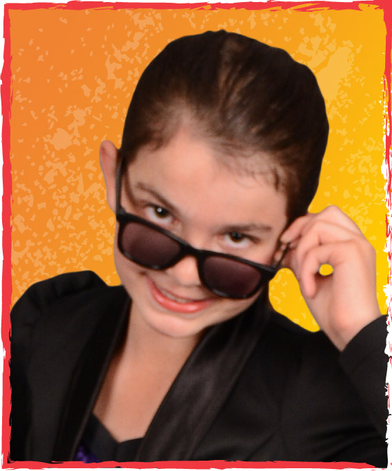 preteen pre-teen dance student in black costume with sunglasses
