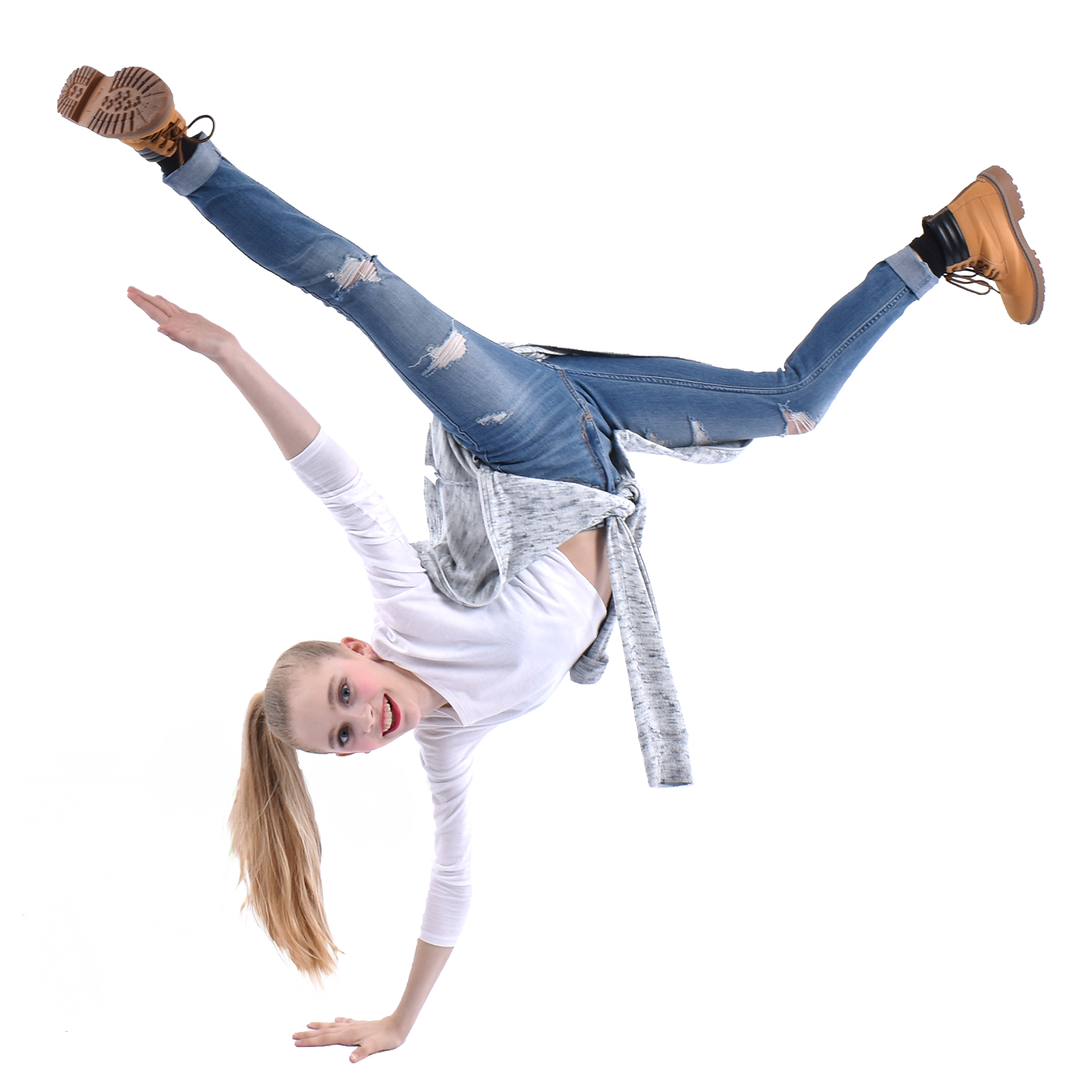 teenage dancer doing handstand