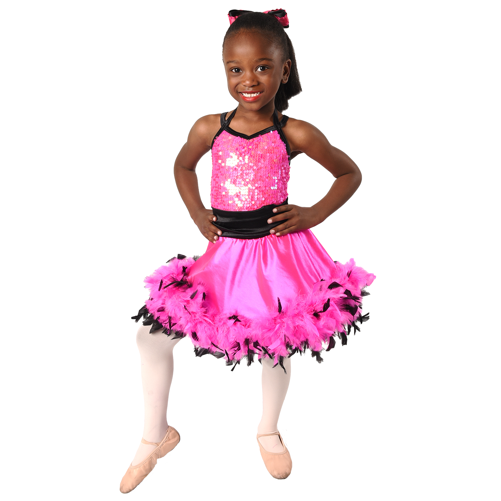 young African American girl ballerina dancer in costume