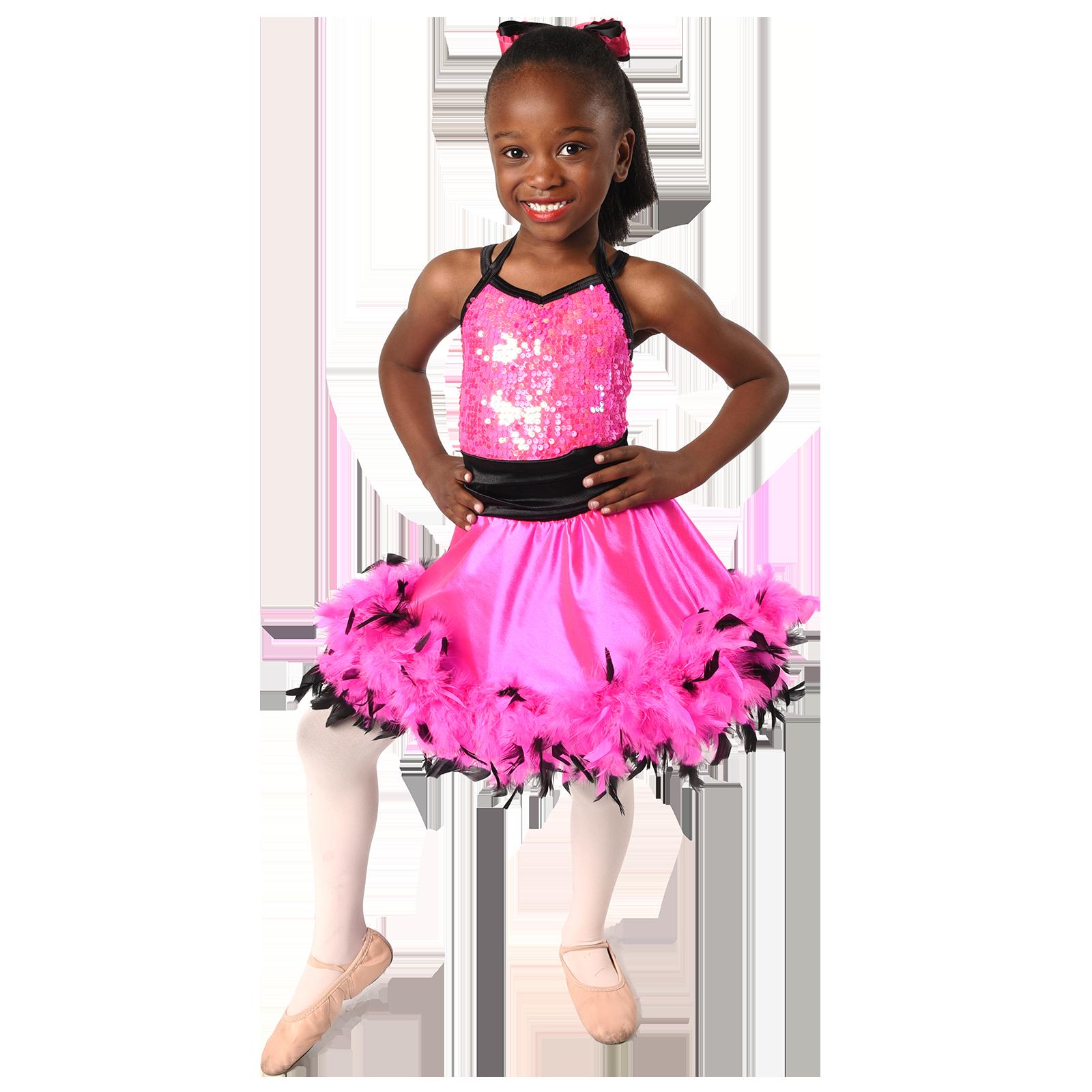 young African American girl ballerina dancer in costume
